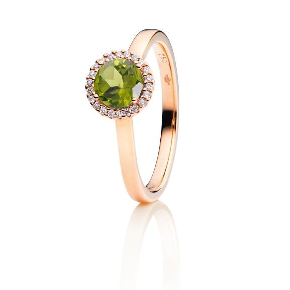 "Ring ""Espressivo"" 750RG, Peridot facettiert Ø 6.0 mm, 22 Diamanten Brillant-Schliff 0.06ct TW/si"