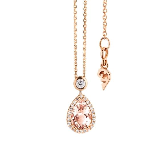 """Collier """"Espressivo"""" 750RG Morganit Tropfen 9.0 x 6.0 mm ca. 1.25ct, 26 Diamanten Brillant-Schliff 0.20ct TW/si, Länge 45.0 cm Zwischenöse bei 42.0 cm"""