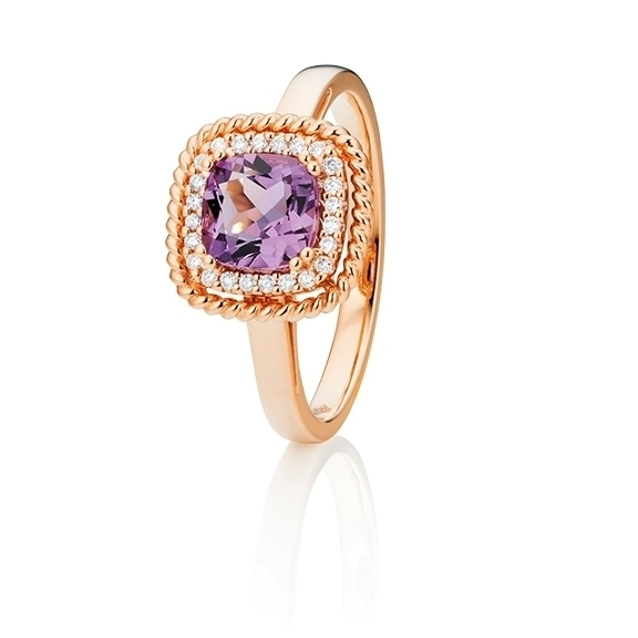 "Ring ""Amore mio"" 750RG, Amethyst medium antik 6.0 x 6.0 mm ca. 1.00ct, 24 Diamanten Brillant-Schliff 0.10ct TW/si"