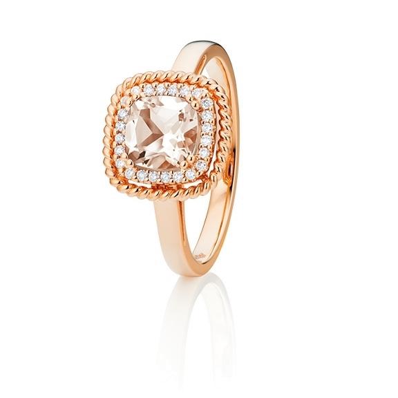 """Ring """"Amore mio"""" 750RG, Morganit antik 6.0 x 6.0 mm ca. 0.90ct, 24 Diamanten Brillant-Schliff 0.10ct TW/si"""