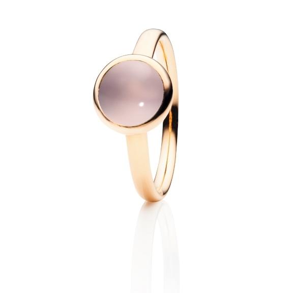"""Ring """"Velluto"""" 750RG Rosenquarz Cabochon Ø 8.0 mm ca. 2.00ct"""