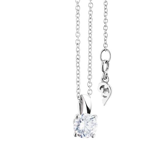 """Collier """"Diamante in Amore"""" 750WG 4-er Krappe, Schlaufe, 1 Diamant Brillant-Schliff 0.40ct TW/vs1, Länge 45.0 cm, Zwischenöse bei 42.0 cm"""