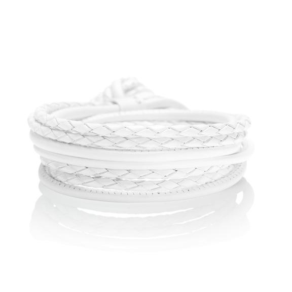 Armband Kalbsleder weiss perlmutt 4-reihig, Ø 3.0 mm, 42.0 cm