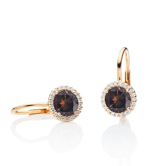 """Ohrhänger """"Espressivo"""" 750RG, Rauchquarz facettiert Ø 6.0 mm, 44 Diamanten Brillant-Schliff 0.12ct TW/si"""
