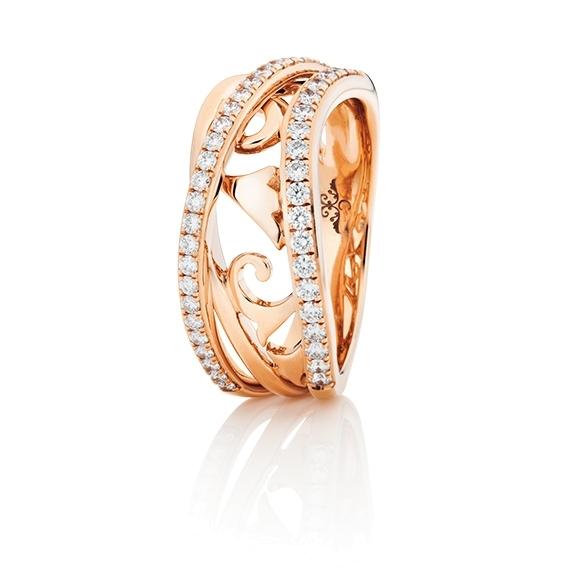 """Ring """"Sérail"""" 750RG, 44 Diamanten Brillant-Schliff 0.45ct TW/vs"""