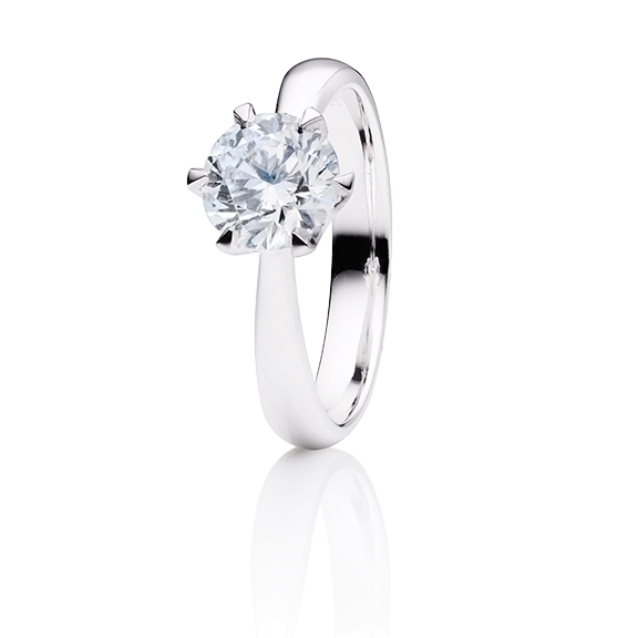 "Ring ""Classico"" 750WG 6-er Krappe, 1 Diamant Brillant-Schliff 1.00ct TW/si GIA Zertifikat"
