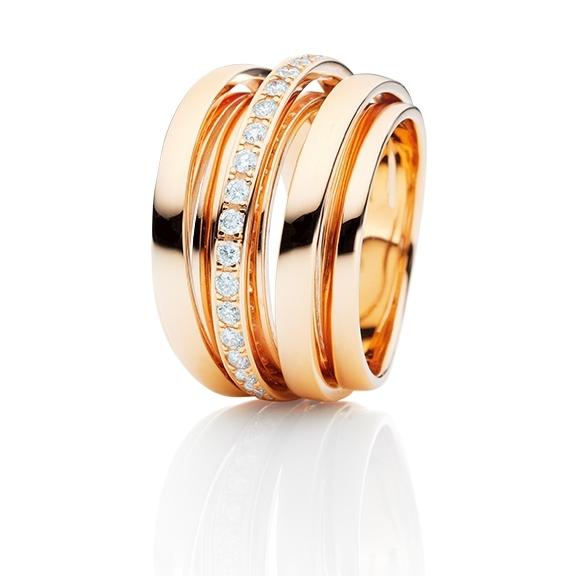 "Ring ""La Donna"" 750RG, 20 Diamanten Brillant-Schliff 0.40ct TW/si"