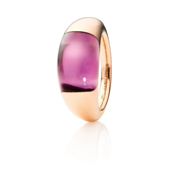 """Ring """"Serenade"""" 750RG, Amethyst medium Cabochon 15.0 x 9.0 mm ca. 8.0ct"""