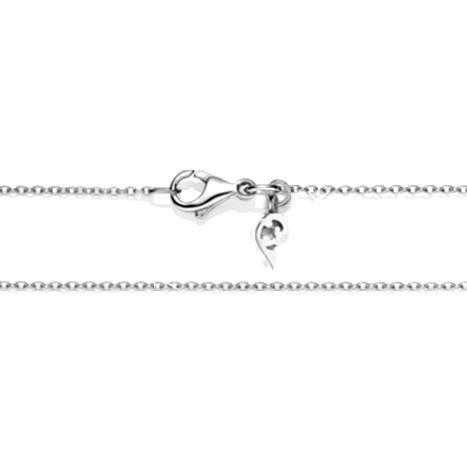 Collierkette Anker rund diamantiert 750WG 1-reihig mit Markenzeichen, Ø 1.3 mm, Länge 45.0 cm, Zwischenöse bei 42.0 cm