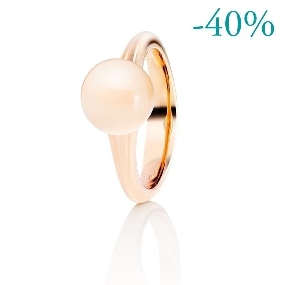 """Ring """"Dei Fiori"""" 750RG, Mondstein champagner Cabochon ca. 3.50ct"""