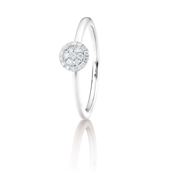 "Ring ""Dolcini"" 750WG, 21 Diamanten Brillant-Schliff 0.10ct TW/vs"