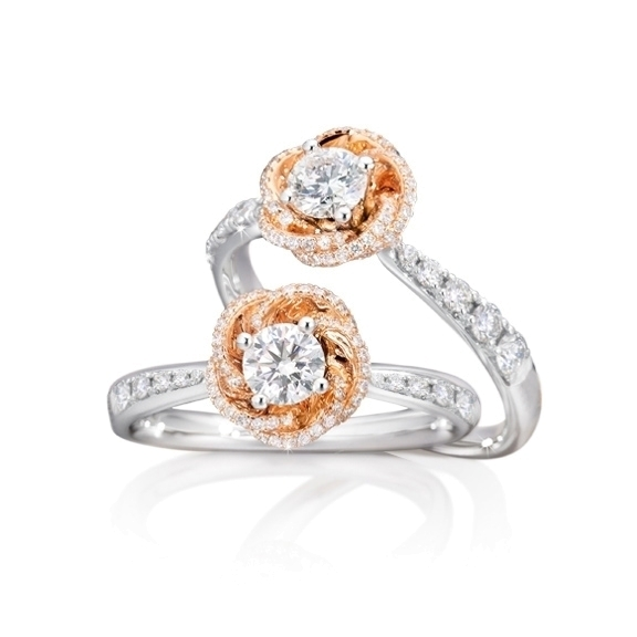 "Ring ""Rose Dream"" 750WG/RG Krappenfassung 1 Diamant Brillant-Schliff 0.50ct TW/vs1 GIA Zertifikat, 85 Diamanten Brillant-Schliff 0.48ct TW/vs1"