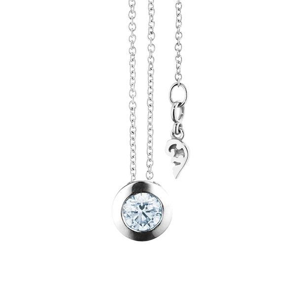 """Collier """"Diamante in Amore"""" 750WG Zargenfassung, 1 Diamant Brillant-Schliff 0.33ct TW/vs1 GIA Zertifikat, Länge 45.0 cm, Zwischenöse bei 42.0 cm"""