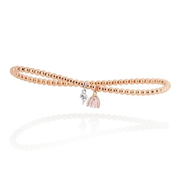 """Armband """"Capriccio"""" 750RG, Rosenquarz facettiert Ø 4.5mm, 28 Diamanten Brillant-Schliff 0.11ct TW/vs1"""