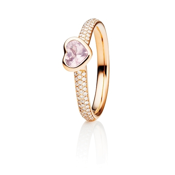 "Ring ""Pure Love"" 750RG, Rosenquarz Herz milky facettiert 5.6 x 4.8 mm ca. 0.40ct, 80 Diamanten Brillant-Schliff 0.24ct TW/vs"