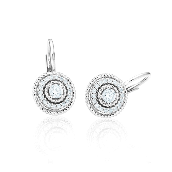 """Ohrhänger """"Amore mio"""" 750WG, 30 Diamanten Brillant-Schliff 0.20ct TW/si"""