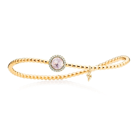 "Armband ""Espressivo"" 750GG, Rosenquarz facettiert Ø 6.0 mm ca. 0.70ct, 22 Diamanten Brillant-Schliff 0.06ct TW/si1, Innenumfang 17.0 cm"