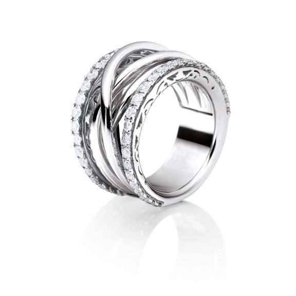 """Ring """"Magnifico"""" 750WG, 50 Diamanten Brillant-Schliff 1.37ct TW/vs"""