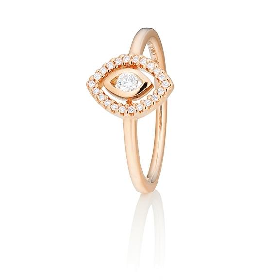"Ring ""Glam Motion"" 750RG, 1 Diamant Brillant-Schliff 0.075ct TW/si, 22 Diamanten Brillant-Schliff 0.065ct TW/si"