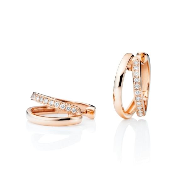 "Ohrcreolen ""La Donna"" 750RG, 30 Diamanten Brillant-Schliff 0.45ct TW/si"