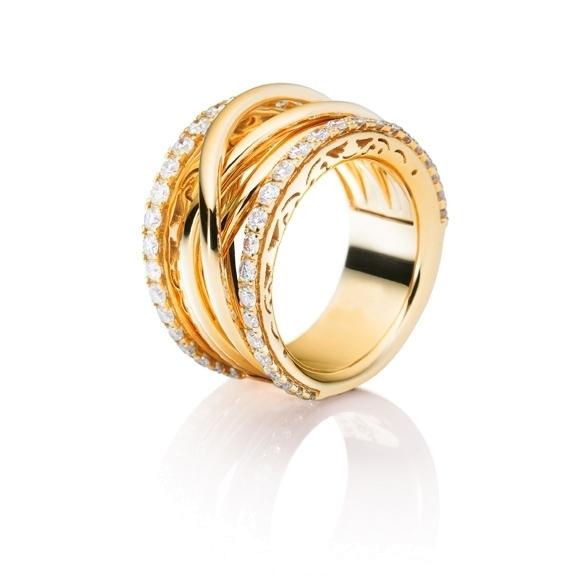 """Ring """"Magnifico"""" 750GG, 50 Diamanten Brillant-Schliff 1.37ct TW/vs"""
