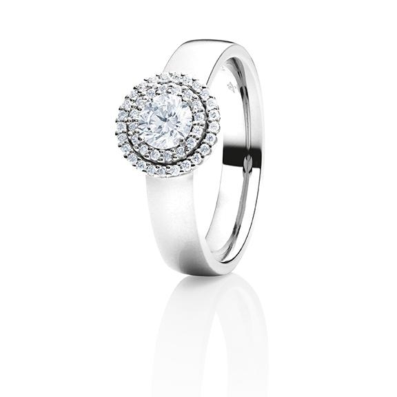 "Ring ""Brillantissimo"" 750WG, 1 Diamant Brillant-Schliff 0.50ct TW/si, 41 Diamanten Brillant-Schliff 0.16ct TW/si"