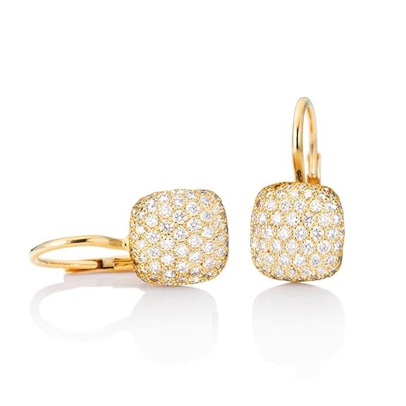"""Ohrhänger """"Happy Holi"""" 750GG, 204 Diamanten Brillant-Schliff 1.16ct TW/vs1, mit Klappbrisur"""