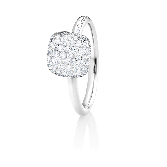 "Ring ""Happy Holi"" 750WG, 102 Diamanten Brillant-Schliff 0.58ct TW/vs1, 1 Diamant Brillant-Schliff 0.004ct TW/vs1"