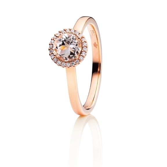 """Ring """"Espressivo"""" 750RG, Morganit facettiert Ø 6.0 mm ca. 0.85ct, 22 Diamanten Brillant-Schliff 0.06ct TW/si1"""