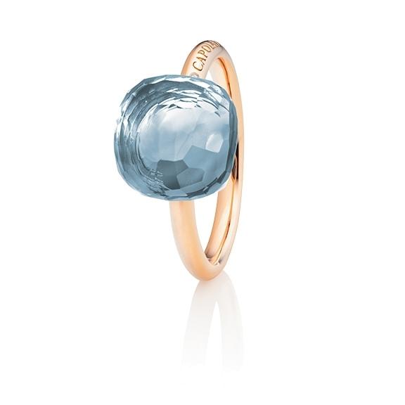"Ring ""Happy Holi"" 750RG, Topas sky blue Cabochon  11.0 x 11.0 mm facettiert ca. 10.00ct, 1 Diamant Brillant-Schliff 0.004ct TW/vs1"