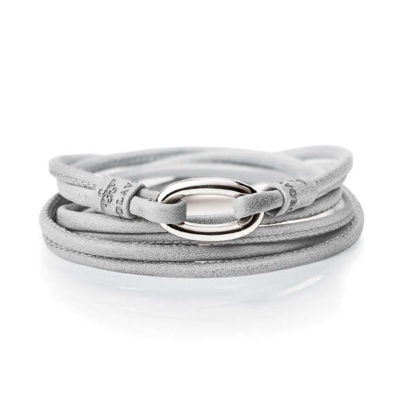 Armband Kalbsleder hellgrau 2-reihig, Ø 3.0 mm, 56.0 cm