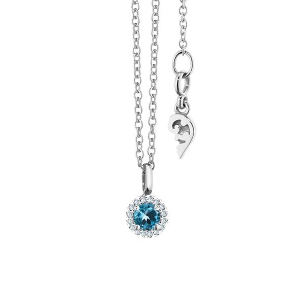 """Collier """"Espressivo"""" 750WG Topas London blue rund fac. Ø 4.0 mm, 16 Diamanten Brillant-Schliff 0.04ct F/si, Länge 45.0 cm Zwischenöse bei 42.0 cm"""