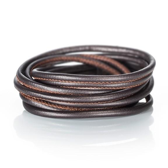 Armband Kalbsleder dunkelbraun 4-reihig, Ø 3.0 mm, 38.0 cm