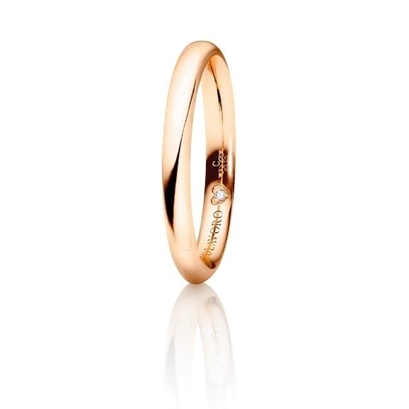 """Trauring """"Diamante in Amore"""" 750RG halbrund und innen bombiert, 1 Diamant Brillant-Schliff 0.005ct TW/vs1"""
