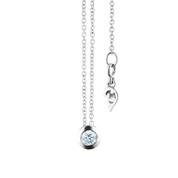"""Collier """"Diamante in Amore"""" 750WG Zargenfassung, 1 Diamant Brillant-Schliff 0.15ct TW/vs1, Länge 45.0 cm, Zwischenöse bei 42.0 cm"""