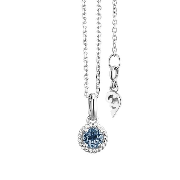 """Collier """"Amore Mio"""" 750WG 1 Saphir blau facettiert Ø 4.0 mm ca. 0.24ct, Länge 45.0 cm, Zwischenöse bei 42.0 cm"""