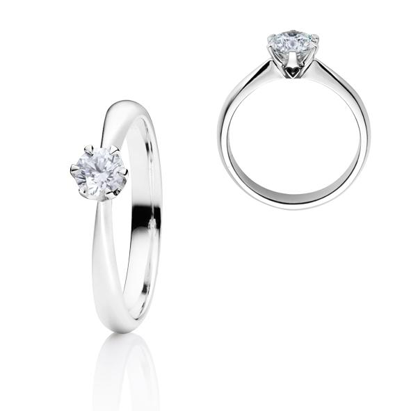 """Ring """"Classico"""" 750WG 6-er Krappe, 1 Diamant Brillant-Schliff 0.40ct TW/si"""