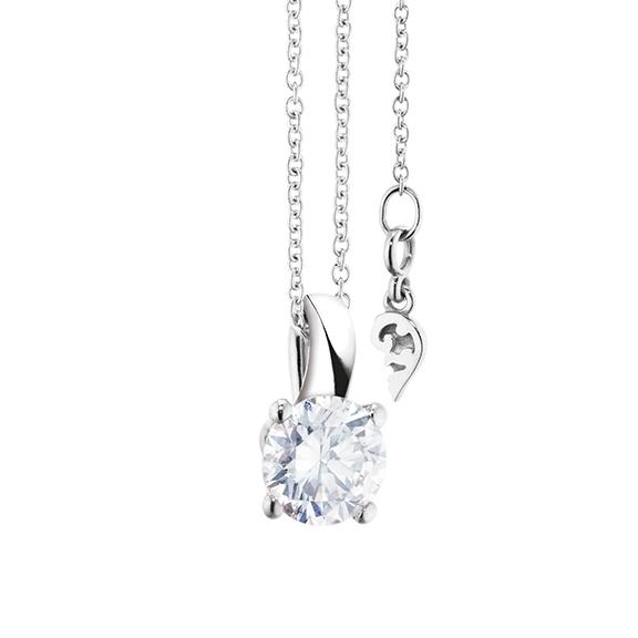 """Collier """"Diamante in Amore"""" 750WG 4-er Krappe, Schlaufe, 1 Diamant Brillant-Schliff 0.75ct TW/vs1 GIA Zertifikat, Länge 45.0 cm, Zwischenöse bei 42.0 cm"""
