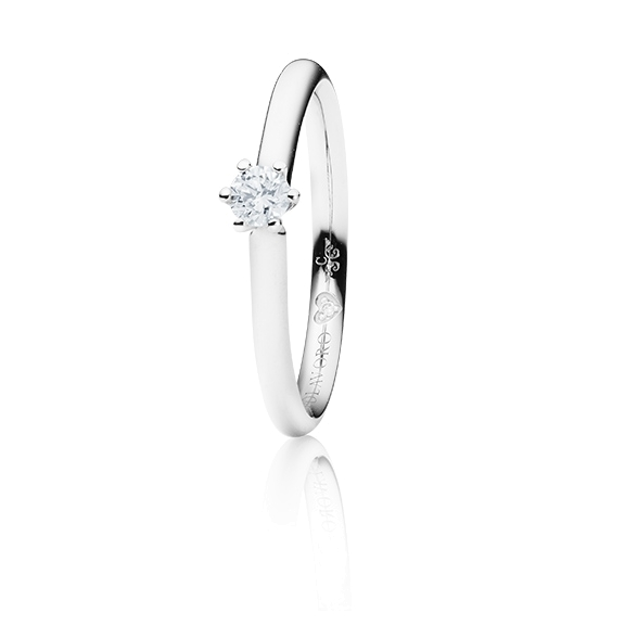 "Ring ""Diamante in Amore"" 750WG 6-er Krappe, 1 Diamant Brillant-Schliff 0.15ct TW/vs1, 1 Diamant Brillant-Schliff 0.005ct TW/vs1"