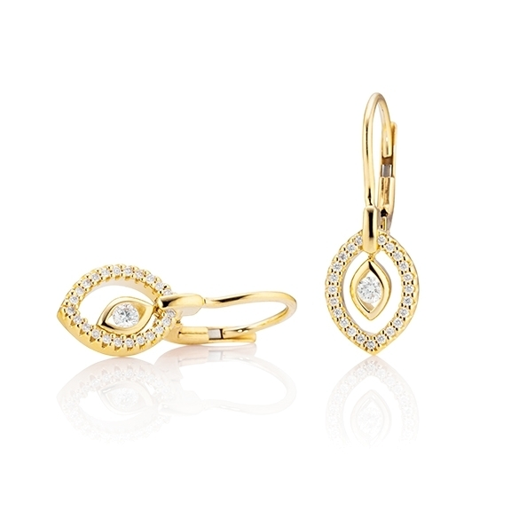 "Ohrhänger ""Glam Motion"" 750GG, 2 Diamanten Brillant-Schliff 0.10ct TW/si, 46 Diamanten Brillant-Schliff 0.12ct TW/si"