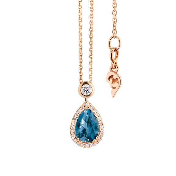"""Collier """"Espressivo"""" 750RG Topas London blue Tropfen 9.0 x 6.0 mm ca. 1.65ct, 26 Diamanten Brillant-Schliff 0.20ct TW/si, Länge 45.0 cm Zwischenöse bei 42.0 cm"""
