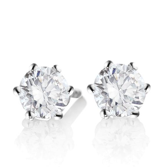 "Ohrstecker ""Diamante in Amore"" 750WG 6-er Krappe, 2 Diamanten Brillant-Schliff á 1.00ct TW/vs1 GIA Zertifikat"