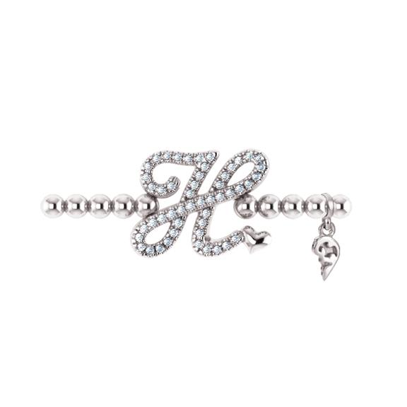 "Armband ""Poesia"" 750WG, Buchstabe ""H"", 50 Diamanten Brillant-Schliff 0.19ct TW/vs1, Innenumfang 17.0 cm"