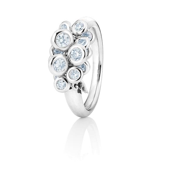 """Ring """"Prosecco"""" 750WG, 15 Diamanten Brillant-Schliff 0.75ct TW/vs1, mit beweglichen Elementen"""