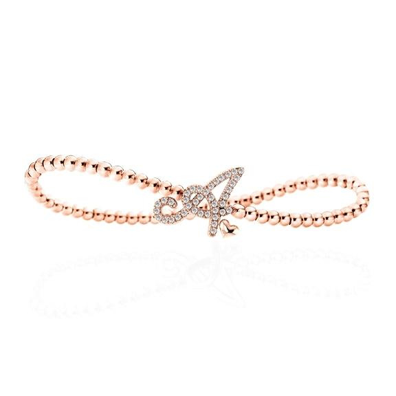 "Armband ""Poesia"" 750RG, Buchstabe ""A"", 39 Diamanten Brillant-Schliff 0.16ct TW/vs, Innenumfang 17.0 cm"
