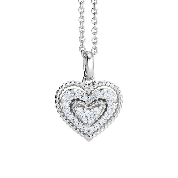 """Anhänger """"Valentine"""" 750WG, 21 Diamanten Brillant-Schliff 0.18ct TW/si"""