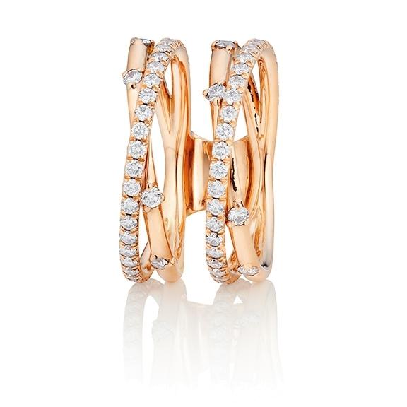"""Ring """"Jaquet"""" 750RG, 74 Diamanten Brillant-Schliff 1.02ct TW/vs1"""