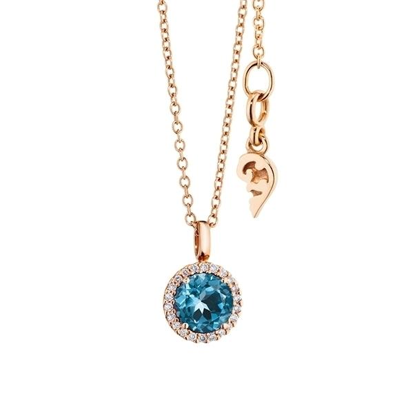 """Anhänger """"Espressivo"""" 750RG, Topas London blue facettiert Ø 6.0 mm, 22 Diamanten Brillant-Schliff 0.06ct TW/si1"""