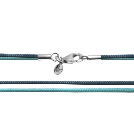 Textilband 750WG türkis + taubenblau 2-reihig 65.0 cm