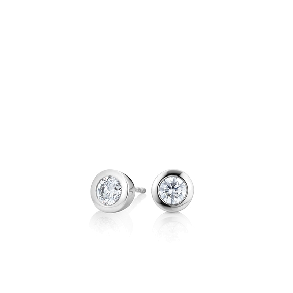 "Ohrstecker ""Diamante in Amore"" 750WG Zargenfassung, 2 Diamanten Brillant-Schliff 0.20ct TW/vs1"